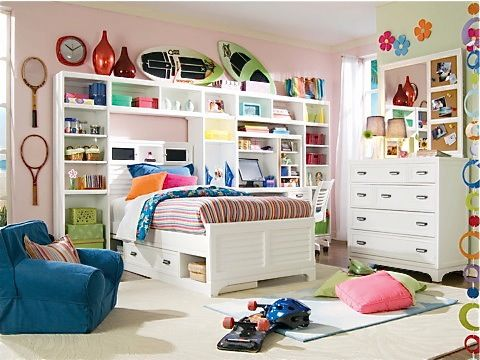 girls bed with underbed storage box, bookcase towers & bridge, matching  dresser & corkboard - 96 Best Girls Rooms Images On Pinterest