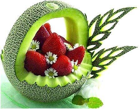 food art strawberry mellon basket.