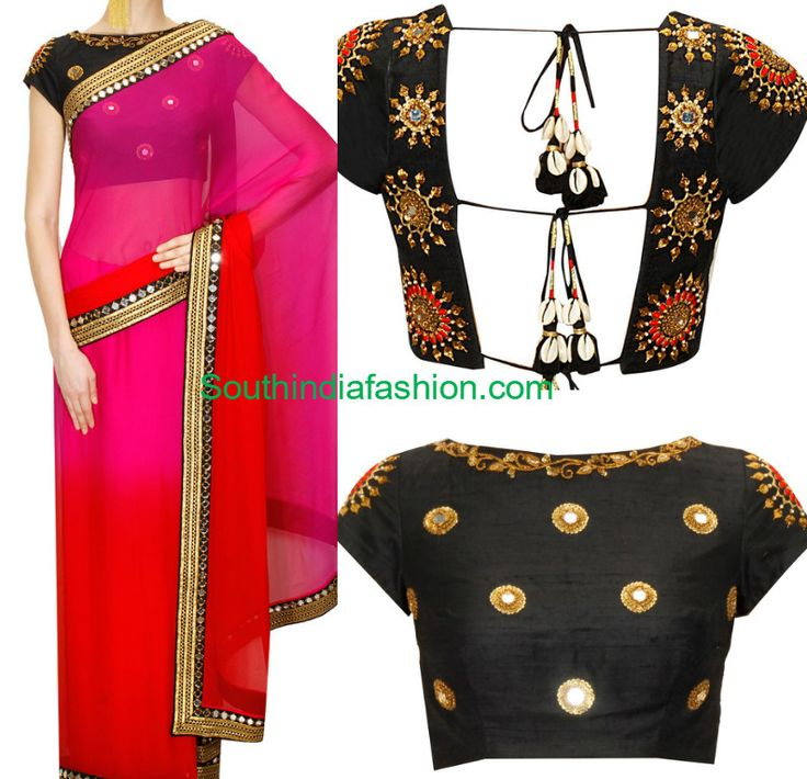 10 Latest Designer Sarees and Blouses, Simple embroidered sarees paired with designer blouses online