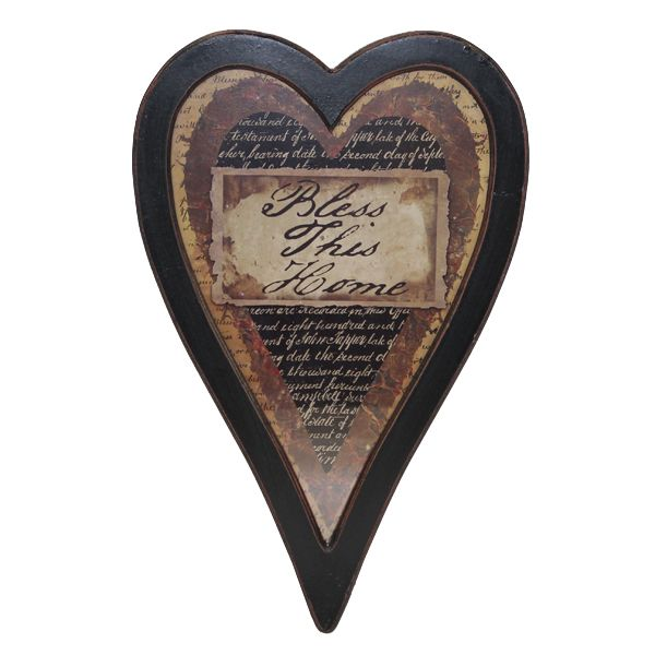 """Rustic black, heart shaped frame showcases the phrase, """"Bless This Home"""".  Written in old hand calligraphy then layered against various backgrounds for a unique look."""