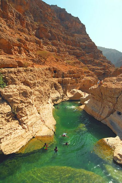Emerald clear water in Wadi Shab Oasis, Oman