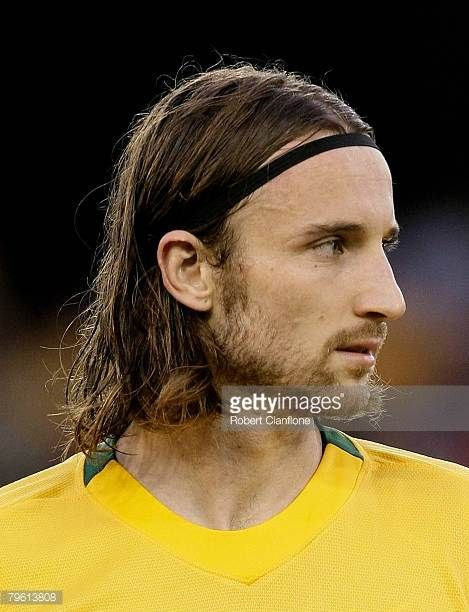 Joshua Kennedy of Australia lines up prior to the 2010 FIFA World Cup qualifying match between the Australian Socceroos and Qatar at the Telstra Dome...
