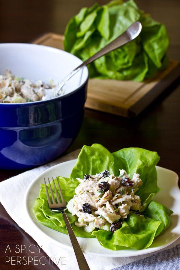 Classic Chicken Salad Recipe with a Twist! (Cherries, Berries, Almonds, Oh My!) ASpicyPerspective.com #chickensalad #chicken #backtoschool
