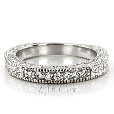 Antique Design Engraved Diamond Anniversary Band (0.14 ct. tw.) #antique #diamond #25karats