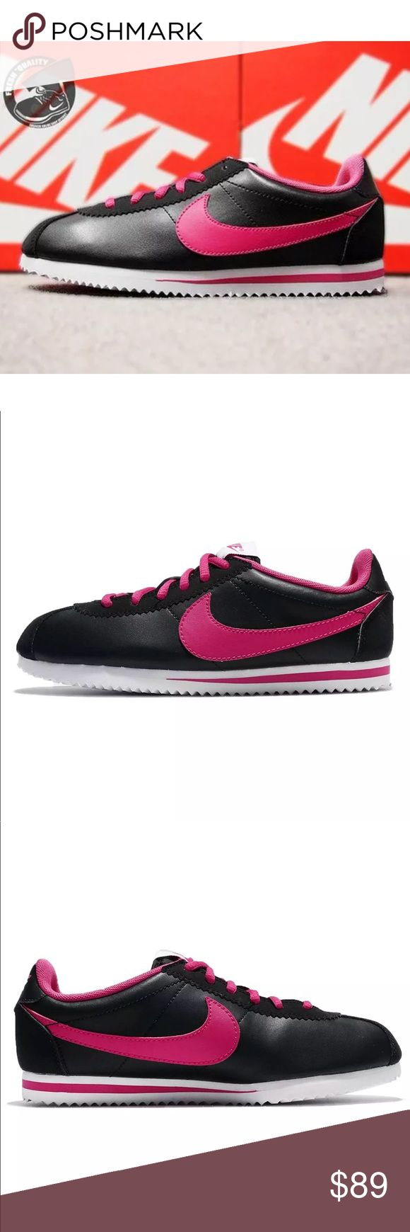 NIKE CORTEZ BLACK PINK WOMENS SHOES NEW CLASSIC BRAND NEW WITHOUT BOX,  Listed in women's sizing ORDER YOUR WOMENS SHOE SIZE Conversion  5.5 YOUTH = 7 WOMENS  6 YOUTH = 7.5 WOMENS  6.5 YOUTH = 8 WOMENS  7 YOUTH = 8.5 WOMENS   ALL SIZES ARE LISTED ACCORDING TO NIKES SIZE CHART WHICH I ADDED ABOVE FOR YOUR Convenience.   Ships same day or next.  Price is firm.  100% authentic & direct from Nike Nike Shoes Sneakers