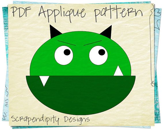 Monster Applique Pattern - Halloween Applique Template / Kids Halloween Shirt / Space Monster Quilt Pattern / PDF Boys Monster Top AP3-D