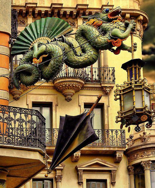 """La Casa de los Paraguas"" (Umbrellas House) is located at the famous Ramblas de Barcelona. Its decoration is so unique! It used to be an old umbrella's shop"