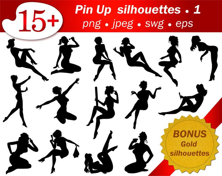 15 silhouettes of pin up girls. Part 1. Bonus Glitter Gold silhouettes. Eps svg…