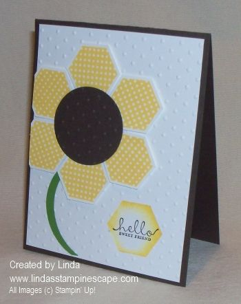 Clever! Sunflower card made with Six Sided Sampler stamps and Hexagon punch