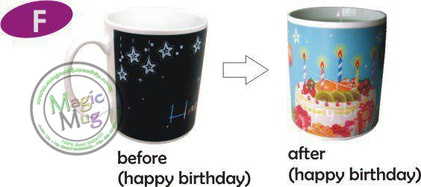 Mug F bermotif Kue tart tulisan Happy Birthday.    Mug ini akan berubah bila di isi air panas.     Before :   Mug berwarna hitam, tulisan happy birthday.    After :  Mug berwarna biru, bergambar kue tart ada tulisan happy birthday.      Mug akan kembali bermotif hitam (before) kalau air panas menjadi dingin (normal) sekitar 15-25 menit.    mugunik.weebly.com