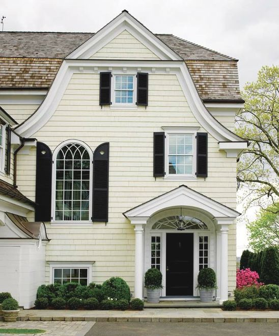 Pale yellow house black shutters client new canaan - Pictures of exterior shutters on homes ...