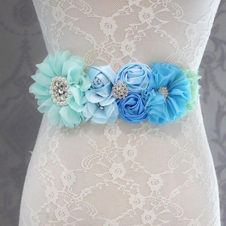 Fashion Blue flower Belt,Girl Woman Sash Belt Wedding Sashes belt with flower headband 1 SET  #beautiful #swag #beauty #pretty #fashionista #instastyle #style #instafashion #fashion #styles
