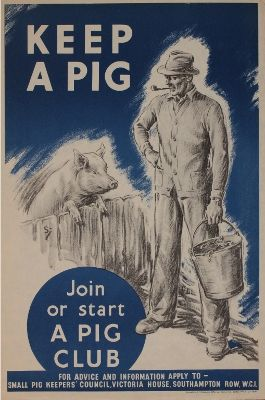 WWII home front 'Own a Pig' poster, at Onslow auction December 19