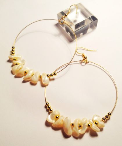 HANDMADE JEWELLERY. Large Hoops w Shell & Gold Beads. Morhers Day / Easter Gift