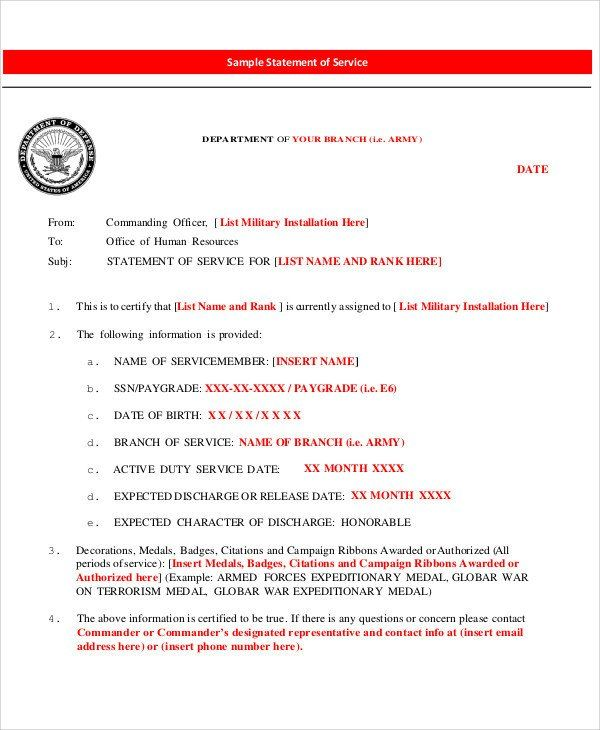 Statement Of Service Army Example 40 Free Service Letters Statement Template Statement Army