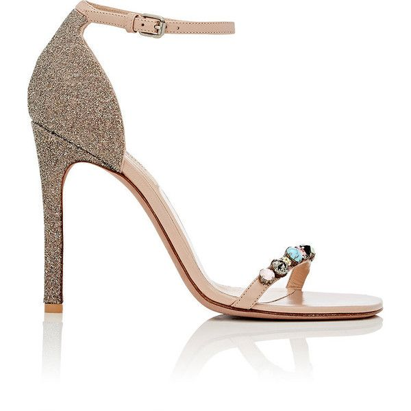 Valentino Women's Embellished Ankle-Strap Sandals (€990) ❤ liked on Polyvore featuring shoes, sandals, high heeled footwear, valentino shoes, leather ankle strap sandals, ankle strap sandals and high heel sandals