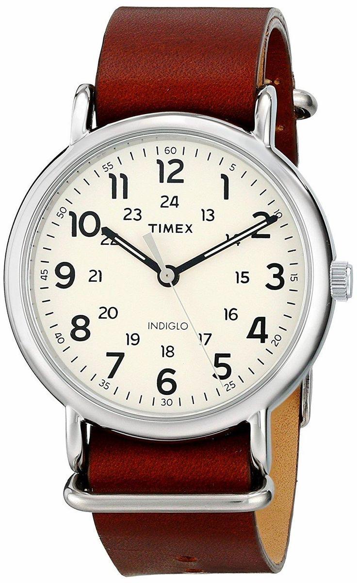 The new cool, dressed in casual. TIMEX Weekender Oversize Brown Leather Slip-Thru Strap. Great style, great colors, great quality. #TIMEX #Weekender   #KhaValeri http://www.pinterest.com/KhaValeri/    kha_amz_TIMweek0405_v31