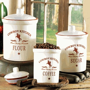 117 best images about my cowboy cabin on pinterest western homes embroidered towels and - Western canisters for kitchen ...