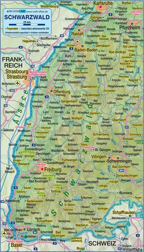 ettlingen germany | Map of Black Forest (Germany, Baden-Wuerttemberg) - Map in the Atlas ...