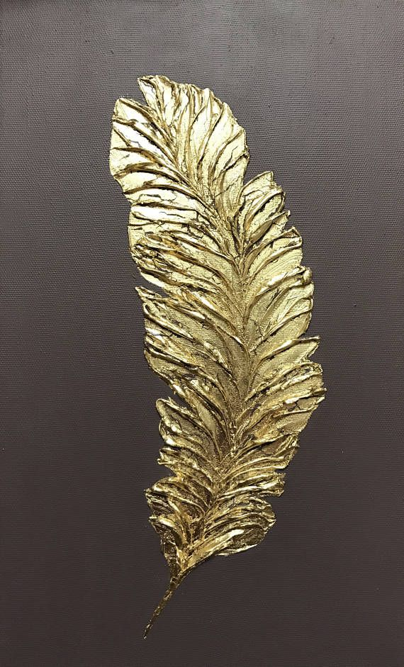 Gold Abstract Art Oil Painting Decorative Interior Panel Wall Decor Golden Feather Wall Art Canvas Wall Art On Canvas by Julia Kotenko