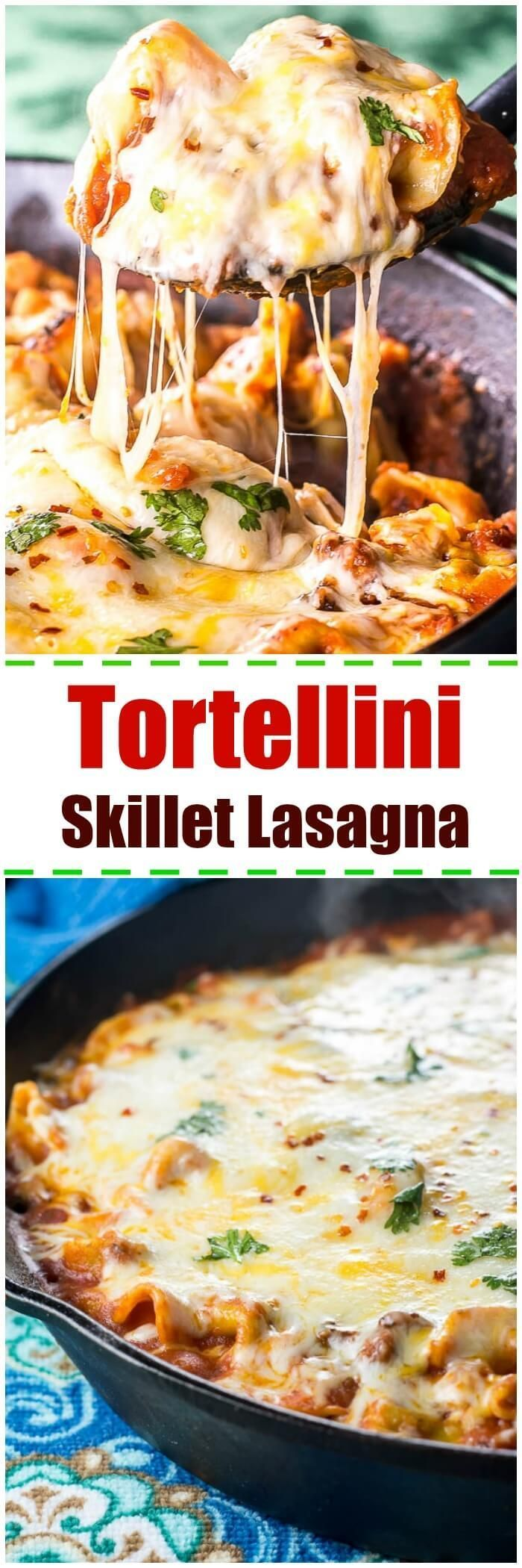 Cheesy Tortellini Skillet Lasagna is perfect when you want lasagna but don't��