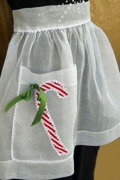 vintage retro style sheer holiday Christmas apron candy cane applique