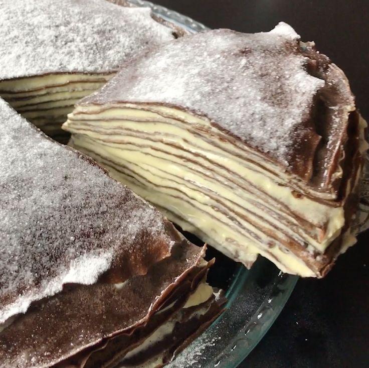 Torta 1000 crepes cioccolato e mascarpone
