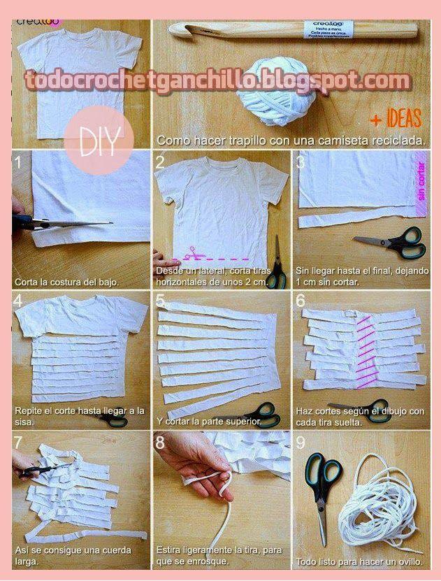 Todo crochet: Cómo fabricar trapillo o totora - paso a paso