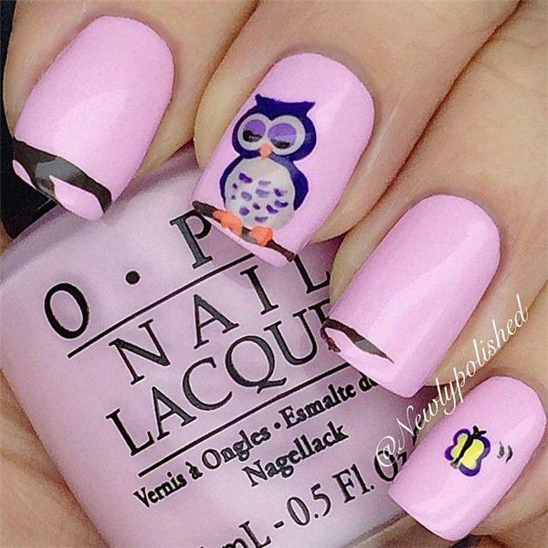 25 Cute Owl Nail Art Designs and Ideas   http://www.meetthebestyou.com/25-cute-owl-nail-art-designs-and-ideas/