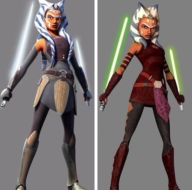 The older Ahsoka (as seen in Star Wars: Rebels) compared with her younger counterpart.  # Fulcrum's Identity #Ahsoka lives #Star Wars: Rebels