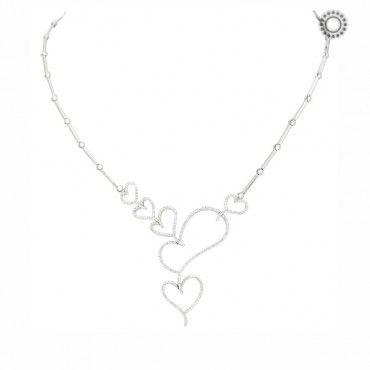 Μοντέρνο και εντυπωσιακό λευκόχρυσο κολιέ 18 καρατίων με καρδιές καρφωμένες από διαμάντια σειρέ ιδιαίτερου σχεδιασμού | Κόσμημα ΤΣΑΛΔΑΡΗΣ Χαλάνδρι #καρδιες #σειρε #διαμαντια #λευκοχρυσο #κολιε