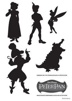 Jeux de découpage des ombres des différents personnages dans le dessin animé Peter Pan
