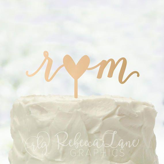 Gold Laser Cut Cake Topper - #ad -- Cake Topper | Lowercase Initials | Heart | Calligr…