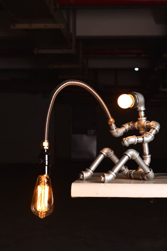 EBE Designer Industrial Lighting - Steampunk Lamp Table Lamp Edison Vintage Light Water Pipe Bedside Lamp Rustic Light Fisherman