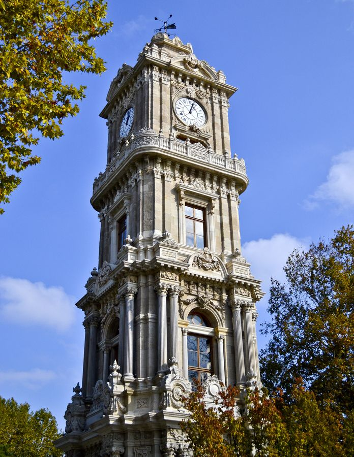 Dolmabahçe Clock Tower situated outside Dolmabahçe Palace in Istanbul, Turkey