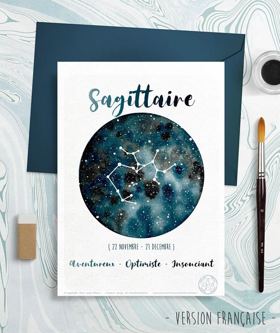 Astrology Card – Zodiac Indicators – Sagittarius, Horoscope, Galaxy drawing, Constellation Illustration, Planet Watercolor, Present, December month