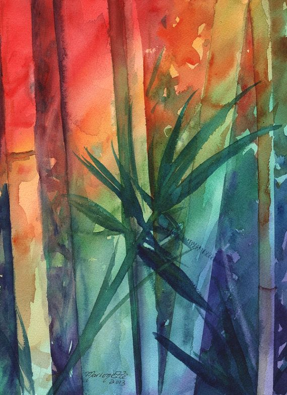 Rainbow Bamboo 3 Original Watercolor Painting of Tropical Foliage from Kauai Hawaii by Marionette