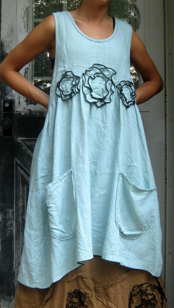 Sea Green Linen Flower Apron Jumper S/M by sarahclemensclothing, $149.00