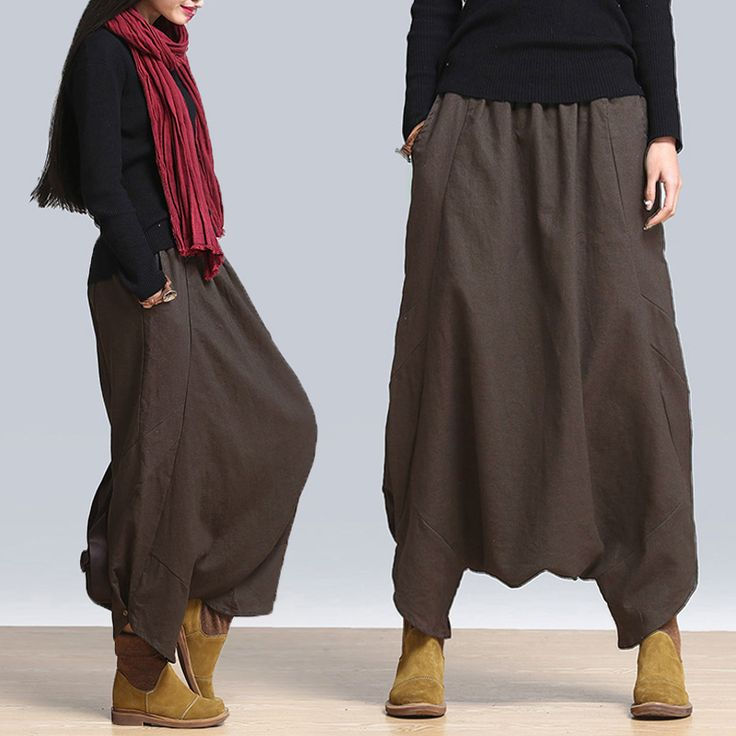 Loose Casual Solid Elastic Waist Pockets Harem Pants For Women - Newchic Mobile