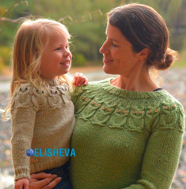 Пуловер вязаный спицами «Совы» по методике Кейт Дэвис | Блог elisheva.ru