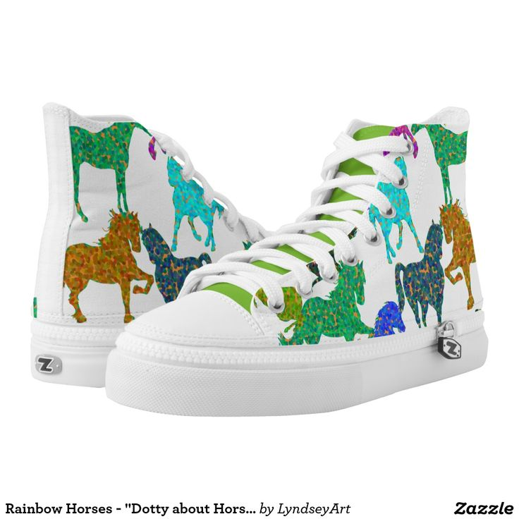 """Rainbow Horses - """"Dotty about Horses!"""" Gorgeous multicolored horses, in the wonderfully """"dotty"""" color bouncing pointallist style. For all of you out there that just adore these magnificent animals. LyndseyART #horses #hitops #zipz #shoes #lyndseyart"""