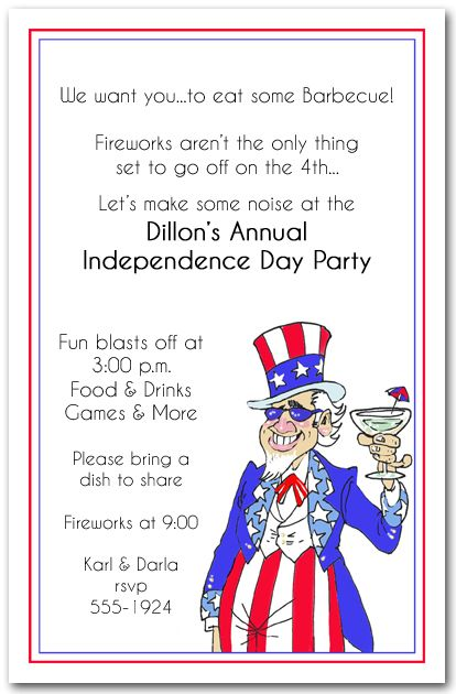 funny memorial day party invitations