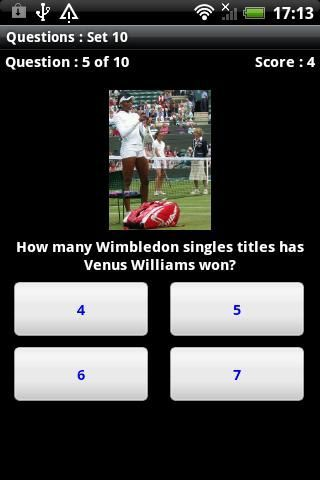 Test your knowledge of the world of tennis<br>The quiz is right up to date, with questions about the latest tennis tournaments.<p>And there's more. It's not just a quiz.  <br>Once you've answered a set of questions, you can play again to test your memory and your reactions.<br>Or you can watch a rain of tennis balls and try to spot the odd one out.<p><br>When you've completed a quiz, you can check your answers and find out more about each topic.<p>You can limit the time you have to answer…