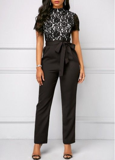 bd8d41cee2 Short Sleeve Lace Bodice Belted Jumpsuit