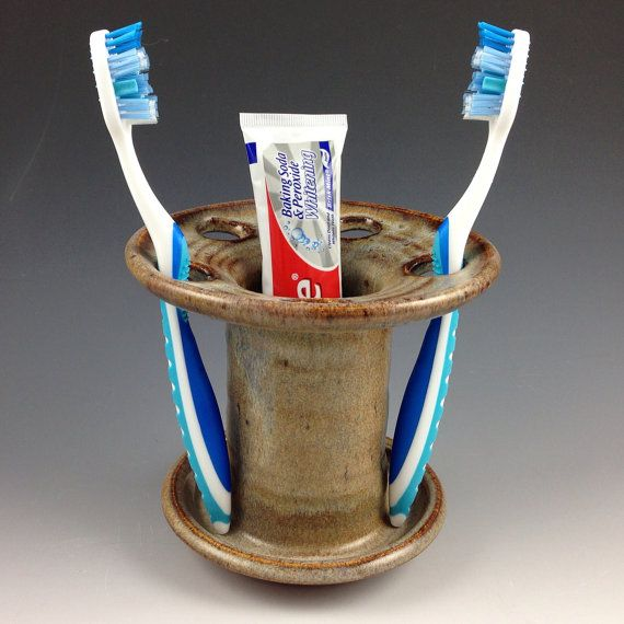 Toothbrush Holder / Toothpaste Caddy, Handmade Pottery Toothbrush Holder in our Earthy Brown Glaze on Etsy, $28.00