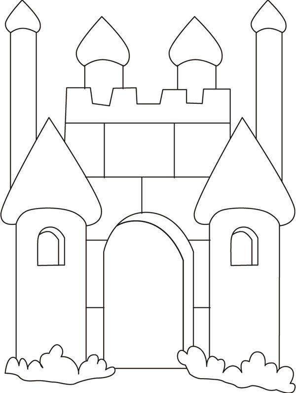 castle outline coloring pages - photo#31