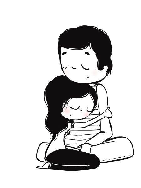"Romantic Cuddling Couple, Love Art, Wedding Gift, Black and White Wall Decor - ""Stay"""
