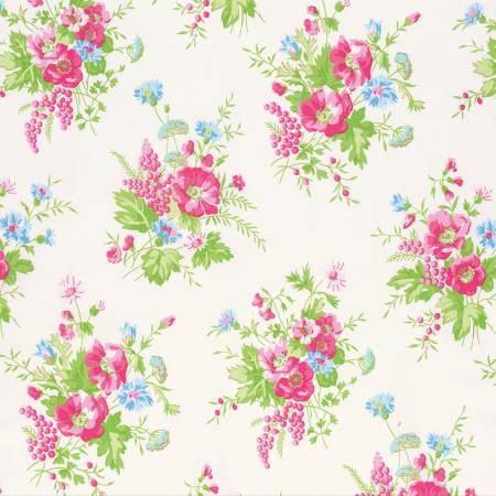 Sadie's Dance Card White Wildflower PWTW125-WHT Cotton Fabric by Tanya Whelan FreeSpirit