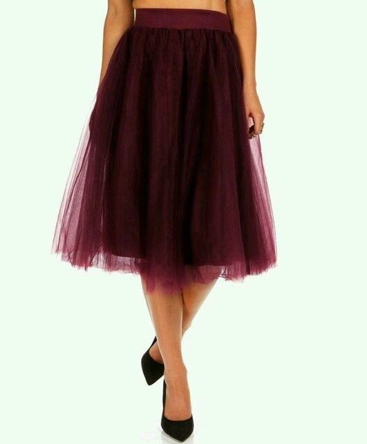 Womens Fashion Dressy Special-Occasion Maroon Tulle Tutu Midi Skirt Custom #DesignerTrade #FullSkirt