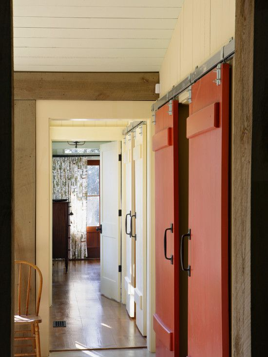 Doors Designs, Appealing Rustic Hall With Red And Beige Barn Doors For Homes Ideas And Admirable Simple Wooden Chair Also White Cool Bedboard Ceiling Style: Interior and Exterior Barn Doors for Homes